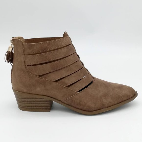 Fergalicious By Fergie Womens Malaki Ankle Booties Brown Tasseled Zip 11 M New